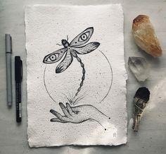 Dragonfly Symbolism, Dragonfly Drawing, Black And White Owl, Dragonfly Decor, Spiritual Decor, Lotus Art, Moon Decor, Dragon Print, Owl Print