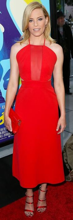 Who made Elizabeth Banks' red mesh dress, pearl earrings, clutch handbag, and sandals?