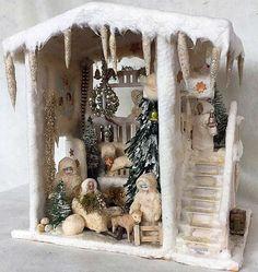 Antique Christmas German winter wonderland large musical Snow House.jpg (snow decorations cotton)