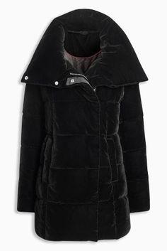 Черная бархатная дутая куртка - Покупайте прямо сейчас на сайте Next: Украина