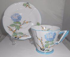 Royal Albert Hydrangea Tea/Coffee Cup Art Deco Made In England #RoyalAlbert