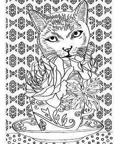 Cat and roses Cat Coloring Page, Free Adult Coloring Pages, Colouring Pages, Coloring Books, Cat Character, Cat Colors, Pictures To Draw, Painting & Drawing, Cool Designs