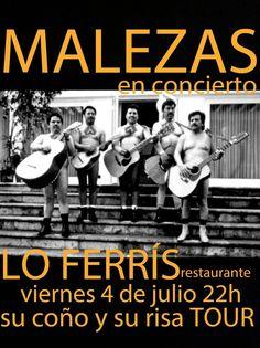 Actuación con @Malezas_ el próximo sábado 4-07-2014 en #RestauranteFerris #LoFerris #Torrevieja. #Rumba #corridos #rancheras #pasodoble #folklore... No te lo puedes perder