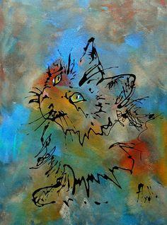 """Tableau """"Le regard du chat"""" peinture acrylique - peintures-axelle-bosler : Peintures par peintures-axelle-bosler"""