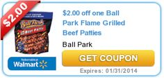 $2.00 off one Ball Park Flame Grilled Beef Patties exp 1/31/14