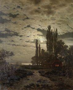 A moonlight landscape  Louis Douzette