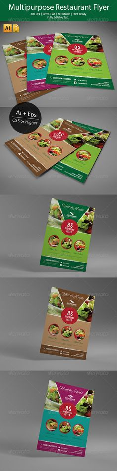 Multipurpose Restaurant Flyer by This is professional Illustrator flyers perfect for corporate business that needs clean, professional, modern flyers template desi Business Card Mock Up, Corporate Business, Print Design, Web Design, Restaurant Flyer, Illustrator Cs5, Ecommerce Logo, 6 Tag, Flyer Layout