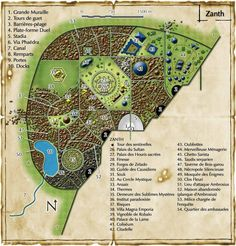 Map of the capital city of Zanth (separated from Aamahd by the great wall) - Chroniques Lunaires : Zar - Talislanta RPG French version © Ludopathes Edit. Fantasy City Map, Fantasy World, Rpg World, City Maps, Cartography, Dungeons And Dragons, Character Design, Deviantart, Elves