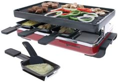 Swissmar KF-77046 Classic 8 Person Raclette Party Grill with Reversible Cast Iron Gril Plate/Crepe Top, Red – KITCHEN APPLIANCES