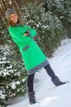 Fashion Jeans Woman ideas and Fashion Ideas 2018 ideas. Warm Dresses, Cotton Dresses, Hoodie Dress, Knee Length Dresses, Green Cotton, How To Run Longer, Hoodies, Sweatshirts, Jeans Style