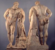 Hercules (Heracles), Roman statue (copy) (marble), 3rd century aD (Farnese collection, Museo Archeologico Nazionale, Naples).