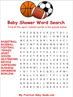 Free Printable #Sport #Baby #Shower Word Search.  Click to see more Sport Baby Shower Ideas and free printables.