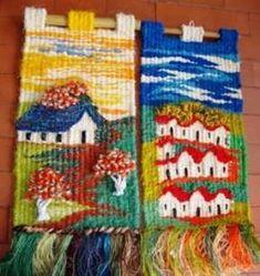 TAPICES :: artesaniasluzyvida Tapestry Weaving, Loom Weaving, Diy Frame, Easter Crafts, Basket Weaving, Textile Art, Fiber Art, Folk Art, Mandala