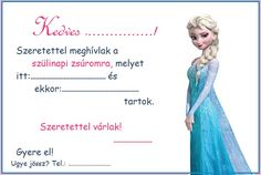 Otthon a baba: Nyomtatható szülinapi party / születésnapi zsúr meghívó Elsa fehér