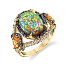 BLACK OPAL & SPESSARTITE GARNET RING Style #RR1040-OPOV Designed in collaboration with renowned artist and designer, Rémy Rotenier.  Center StoneOpal Carat Weight3.65 ShapeOval Measurement12.60 x 9.64 x 5.25 mm ColorMulti Finger Size6.5 Design Details2 Pear Spessartite Garnets, 0.84 carats 54 Round Sapphires, 0.33 carats 56 Round Diamonds, 0.50 carats Metal18K Yellow Gold