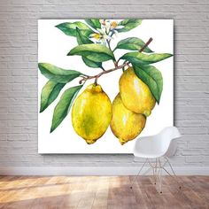 Lemon Tree, Large Yellow Kitchen, Dining Artwork, Framed or Unframed Cheap Artwork, Canvas Artwork, Canvas Prints, Dining Room Wall Art, Kitchen Wall Art, Kitchen Dining, Yellow Wall Decor, Yellow Walls, Images Murales