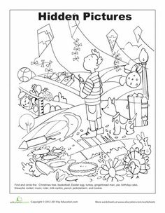 worksheets hidden picture coloring page