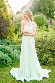 Wedding dress mint wedding dress chiffon gown train Bridal