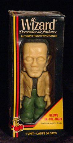 Vintage Wizard Frankenstein Air Freshener in the original box. Cheap Halloween, Halloween Goodies, Halloween Horror, Vintage Halloween, Frankenstein's Monster, Monster Mash, Monster Squad, Retro Robot, Bride Of Frankenstein