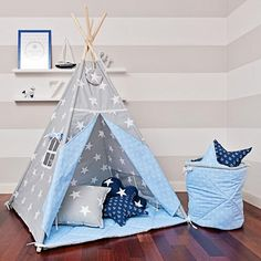 Grosse Tipi Kit mit Bodenmatte Kissen Girlande  Sea Breeze
