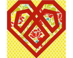 Celtic Heart paper pieced quilt block pattern INSTANT DOWNLOAD PDF. $3.00, via Etsy.