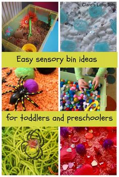 How to create a sensory bin and easy sensory bin ideas for toddlers and preschoolers.