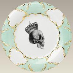"""Green and Gold Skull Dinner Plate, 10.5"""""""