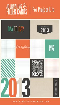 Journaling + Filler cards for use with #projectlife. #scrapbooking