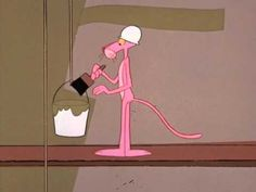 """Pink works on a building site. The Pink Panther, sauntering casually along, sees a """"Construction Workers Wanted"""" sign on the fence of a building under constr..."""