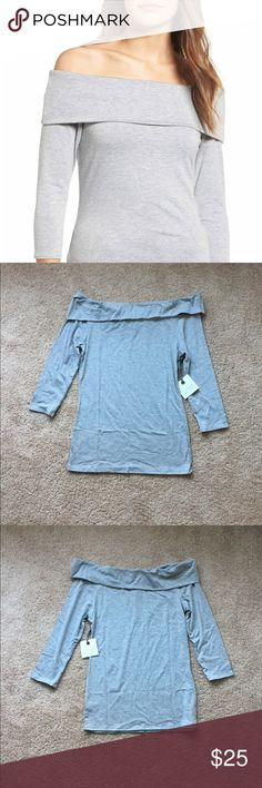 🆕 Hinge Off The Shoulder Top PLEASE FORGIVE SPLIT PHOTOS. POSHMARK UPDATES WONT ALLOW MY APPLE PRODUCTS TO CROP.  Off the shoulder neck, three-quarter sleeves, jersey material. 61% polyester, 33% rayon, 6% spandex. Hand wash, dry flat. Grey Heather. Hinge Tops