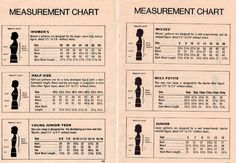vintage measurement chart - Google Search