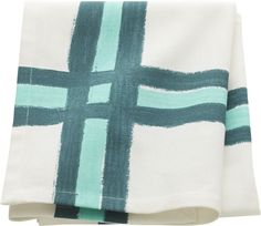 rad plaid.  In a graphic wink to '50s kitsch, painterly bands of aqua and blue-green abstract modern gingham on white cotton. Screen-printed100% cottonHanging loopMachine wash.