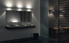 Floating Vanity With Couple Sinks Idea Feat Modern Bathroom Lighting With 3 Wall Sconces Over Mirror Design