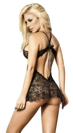 Besame High Quality Lace Babydoll See Through Thong Included Black SL1556 Made in Colombia - Listing price: $65.00 Now: $33.95