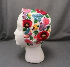 Hungarian Embroidered Folk Costume Bonnet Ethnic Cap Dress Hat oktoberfest EUC