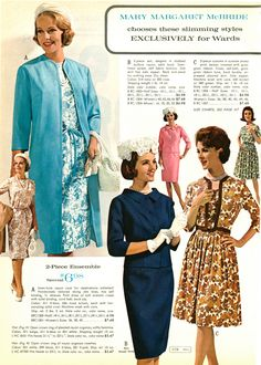 1960s Fashion Women, Retro Fashion, Vintage Fashion, Vintage Dress Patterns, Vintage Dresses, Vintage Outfits, Decades Fashion, Fall Dresses, 60s Dresses