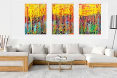 Rainy day in May - XXL triptych colorful palette knife painting Acrylic painting by Ivana Olbricht Palette Knife Painting, Office Art, Triptych, Acrylic Painting Canvas, Magazine Design, Vivid Colors, Original Paintings, Sculptures, Abstract