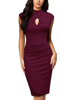 b30cc1465c Miusol Women s Business Slim Style Ruffle Work Pencil Dress  womensclothing   ad  girl
