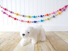 Garland, Rainbow Garland, Felt Ball Garland, Birthday Garland, Pom Pom Garland, Nursery Decor, Party Garland, Playroom Decor, Neon Bunting by theblushingfig.com, $19.75
