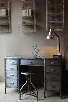 Just in from the workshop…. Vintage Industrial Desk.(attic.©2014) www.discoverattic.com                                                                                                                                                     More