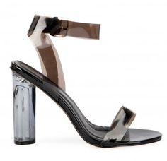 Ariana Strappy Sandal In Black Perspex
