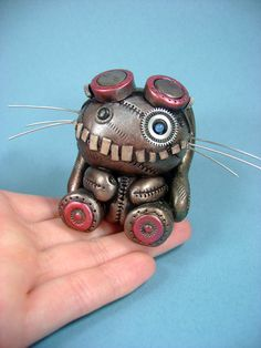 Cute Steampunk Bunny. Love the teeth.