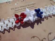 Handmade 4th of July Baby Waffle White Elastic by fitforprincess, $4.50