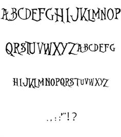 """""""Nightmare Before Christmas"""" font; good for scrapbooking and Halloween. See Haunted Mansion Holiday scrapbook pages at http://mousescrappers.com/forums/showthread.php?t=8732"""
