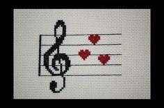 Treble Clef musica amore PDF Cross Stitch di BlueTopazStitchery