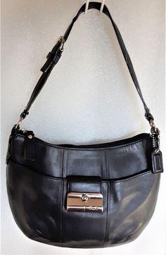 8f0d1aea14a Elegant COACH 43723 Kristin Genuine buttery soft Black Leather Demi Ergo  handbag   eBay Unique Handbags
