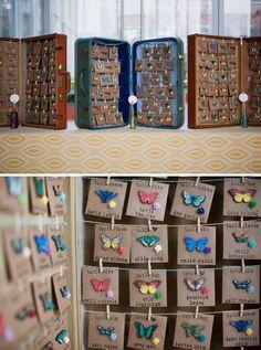 BUTTERFLY scort cards/ seating chart - Kristine and Daniel's Wedding, via loveandlavender.