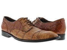 Mens genuine cognac full crocodile oxford dress shoe.