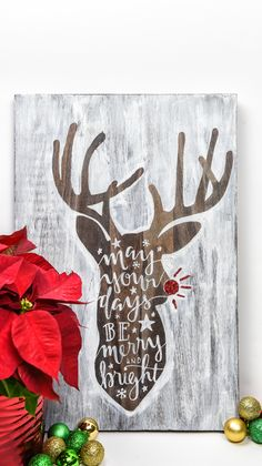 Hand Lettered Rudolph Craft Learn how to use the slice tool in the Silhouette design software to cut a vinyl stencil that is larger than your Silhouette mat. Create large home decor signs on wood, canvas, fabric, and more! Christmas Signs, Christmas Art, Christmas Projects, Holiday Crafts, Vintage Christmas, Christmas Decorations, Christmas 2019, Christmas Quotes, Green Christmas