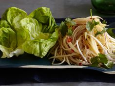Green Papaya Salad in Lettuce Wraps from CookingChannelTV.com.  Replaced peanut oil with coconut oil.